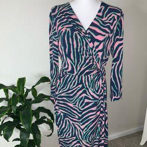 Anne Klein Zebra multicolored wrap dress